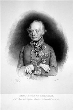Engraved reproduction of a formal portrait of von Bellegarde. He is an elderly man with wispy grey hair and long eyebrows, bony features and an imperious expression. He wears military uniform and numerous decorations. His gloved hands are folded over the hilt of a sword.