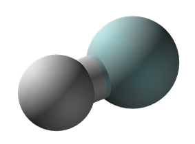 Ball and stick model of the helium hydride ion