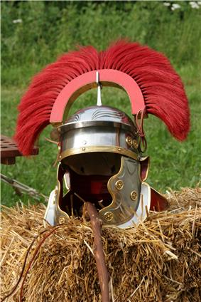 Modern reconstruction of a 1st Century centurion's helmet. It has embossed eyebrows and circular brass bosses typical of an Imperial Gallic helmets.