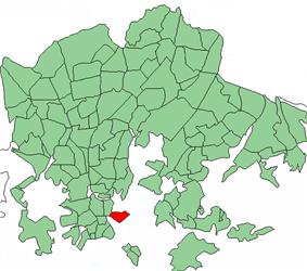 Position of Katajanokka within Helsinki