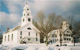 Congregational Church (left), Henniker Historical Society Museum (right)