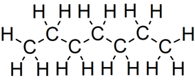 Skeletal formula of heptane of all implicit carbons shown, and all explicit hydrogens added