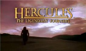 A darkened mountainous scene with dark clouds overhead. A lone man is standing to the left of the scene. Above the scene in golden capital letters is the title of the show.