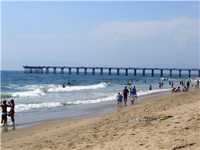 The Hermosa Beach pier on a hot summer day.