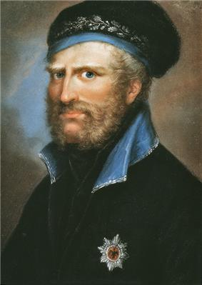 Duke of Brunswick in black uniform and light blue collar