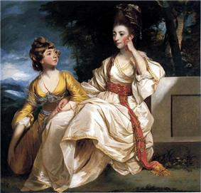 Grandly dressed woman, seated, with her daughter kneeling on her right
