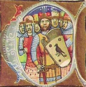 Seven armed men, one of the wearing a shield depicting a bird of prey