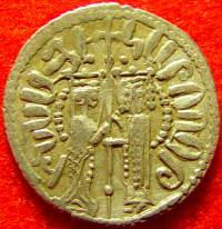 Isabella with King Hethum on a coin