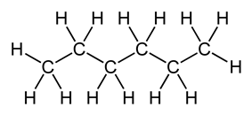 Skeletal formula of hexane with all implicit carbons shown, and all explicit hydrogens added