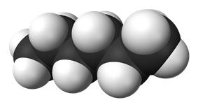 Spacefill model of hexane