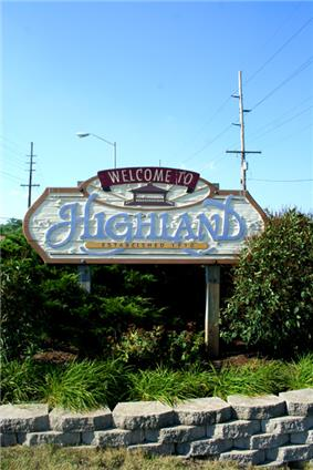 Skyline of Town of Highland, Indiana
