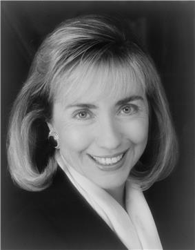 Formal black-and-white portrait of Clinton, 1992