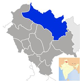 Location of Lahaul and Spiti  लाहौल और स्पीति district in Himachal Pradesh