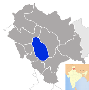Location of Mandi district in Himachal Pradesh