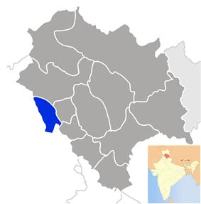 Location of Una district in Himachal Pradesh