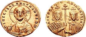 Obverse and reverse of a gold coin, showing a bust of Christ Pantocrator and two crowned rulers jointly holding a cross