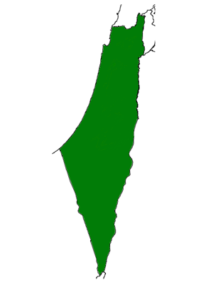 Historical region of Palestine (as defined by Palestinian Nationalism) showing Israel's 1948 and 1967 borders