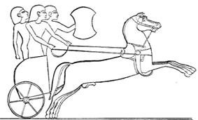 A line drawing of a two-wheeled chariot drawn by two horses, with three men in the chariot. One of the men is holding a shield.