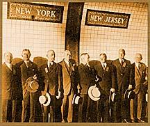 People standing by the border of the newly constructed Holland Tunnel