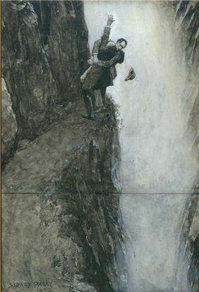 Holmes and Moriarty wrestling at the end of a narrow path, with Holmes's hat falling into a waterfall