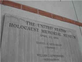 Dedication plaque of the USHMM. Made from Limestone.