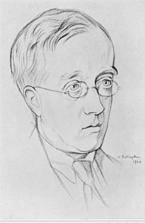 pencil drawing of Holst in middle age