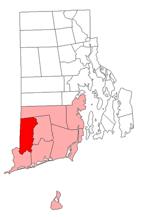 Location of Hopkinton within Washington County, Rhode Island