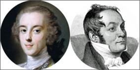 faces of two youngish writers of 18th and 19th century appearance