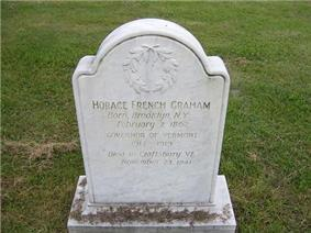Gravestone of Horace French Graham in Craftsbury's Crfatsbury Common Cemetery