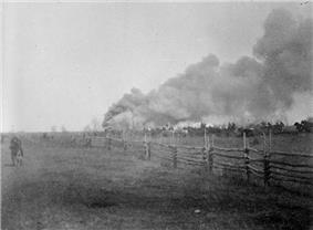 1885 photograph of the commencement of hostilities at the Battle of Batoche