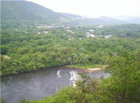 Hot Springs viewed from a cliff along the Appalachian Trail