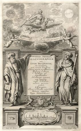 Frontispiece of book showing two persons in robes, one holding a geometrical diagram, the other holding a telescope.
