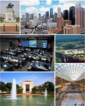 Clockwise from top: Sam Houston monument, Downtown Houston, Houston Ship Channel, The Galleria, University of Houston, and the Christopher C. Kraft Jr. Mission Control Center.