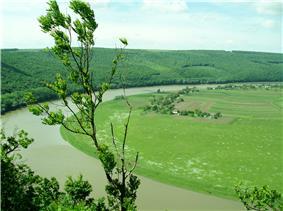 Dniester Canyon between village Hubyn (Ternopil region) and town Chernelytsia (Ivano-Frankivsk region), western Ukraine.