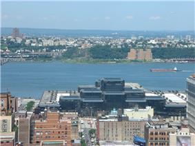 Weehawken on the Hudson River, as viewed from Midtown Manhattan (Javits Center in foreground).