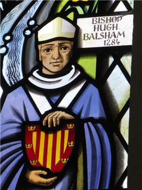 Hugh Balsham shown in a window at Thriplow church