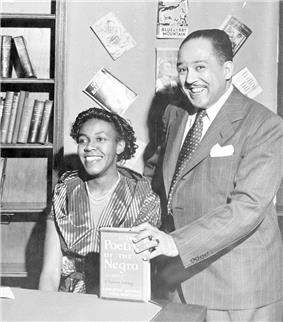 A photo of Gwendolyn Brooks and Langston Hughes