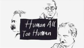 Screenshot of the opening titles consisting of three black and white drawings depicting Friedrich Nietzsche, Jean-Paul Sartre and Martin Heidegger.