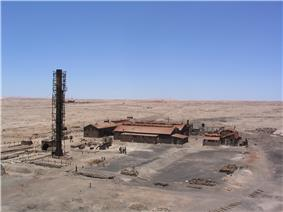 Industrial structure in a desert setting.