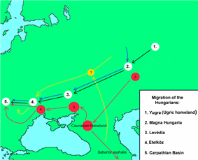 A map depicting Central and Eastern Europe and two possible routes of the Magyars' migrations towards the Carpathian Basin