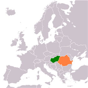 Map indicating locations of Hungary and Romania