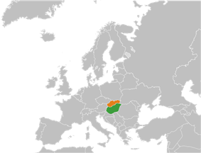 Map indicating locations of Hungary and Slovakia
