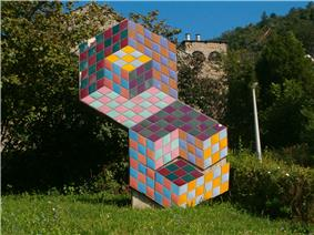 An optical illusion by the Hungarian-born artist Victor Vasarely in Pécs.