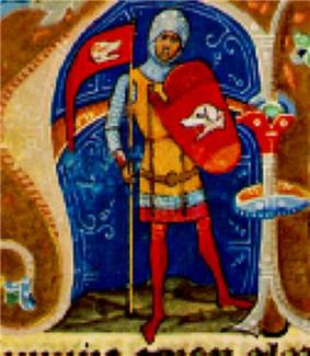 An armored standing man who bears a coat-of-arms and a flag, both depicting heads of dogs