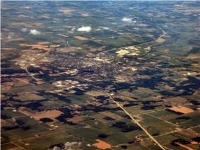 Aerial view of Huntington looking northeast.