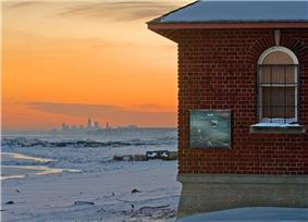 Winter view of Cleveland's skyline from Huntington Beach