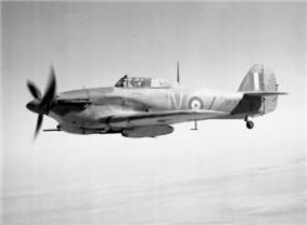 Hurricane IID of 6 Sqn showing Vokes tropical filter and RAF desert camouflage in 1942.
