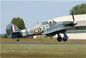Contemporary image of the Canadian-built Hurricane IIB taking off