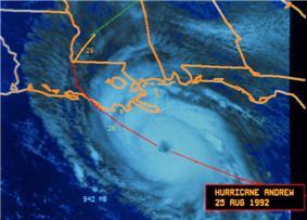 A satellite imagery showing a hurricane approaching Louisiana