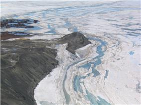 Aerial view of Hut Point, near McMurdo Station, Antarctica
